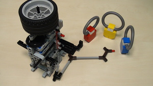 Image for Pinless LEGO Mindstorms attachment with flywheel and rubber band