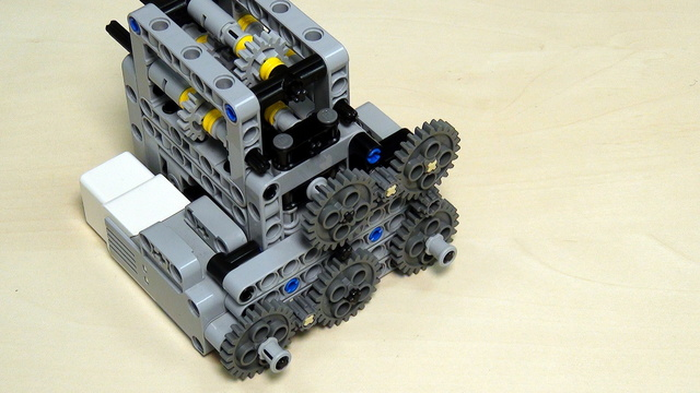 Image for Multi-axles, many-directional LEGO Mindstorms mechanism for transferring power (almost a gear box).