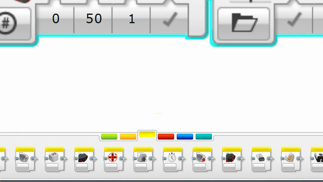 Image for EV3 Phi. The different palettes in LEGO Mindstorms EV3-G software